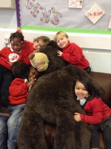 large teddy with Reception class